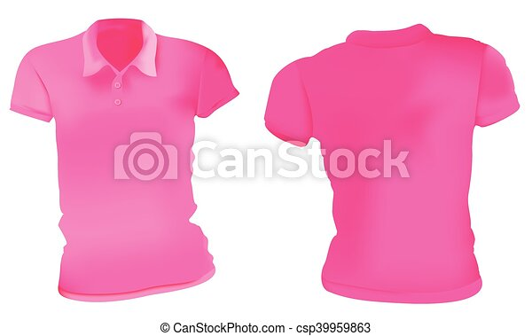 Women pink polo shirts template. Vector illustration of blank pink ...