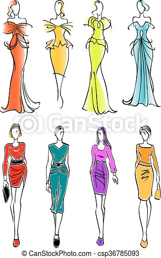 3312884365efd Women presenting dresses for work and leisure. Pretty young female ...