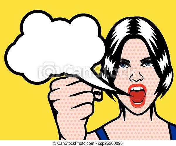 women rights pop art poster with cloud speech