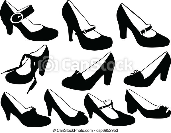 illustration of women shoes vector rh canstockphoto com vector shoe print victor shoes