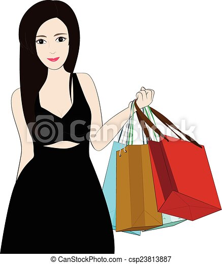 women shopping women hold bag on white background vector search rh canstockphoto com african american woman shopping clipart woman with shopping bags clipart