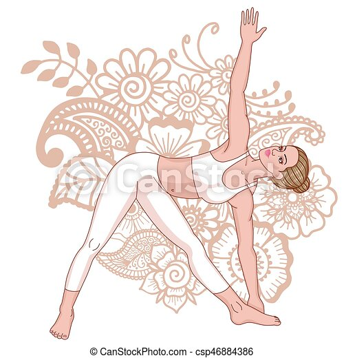women silhouette extended triangle yoga pose utthita
