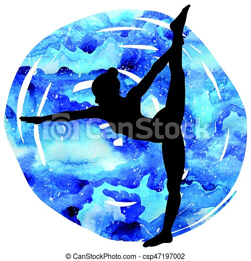 women silhouette standing bow pulling yoga pose