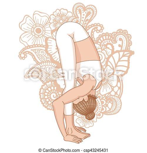 Women silhouette. Uttanasana, forward fold yoga pose. - csp43245431