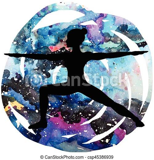 Women silhouette. Warrior 2 yoga pose. Virabhadrasana 2 - csp45386939