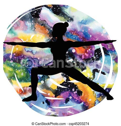 Women silhouette. Warrior 2 yoga pose. Virabhadrasana 2 - csp45203274