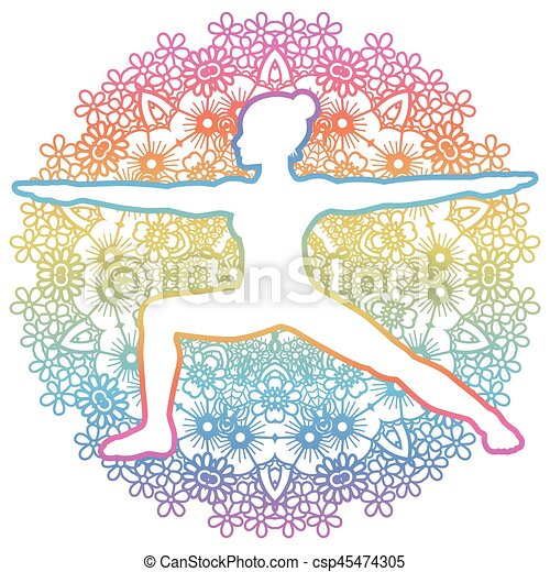 Women silhouette. Warrior 2 yoga pose. Virabhadrasana 2 - csp45474305