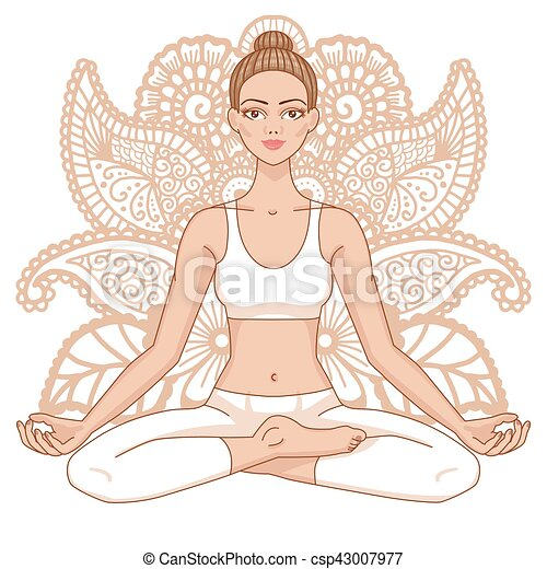 Women silhouette. Yoga lotus pose. Padmasana. - csp43007977