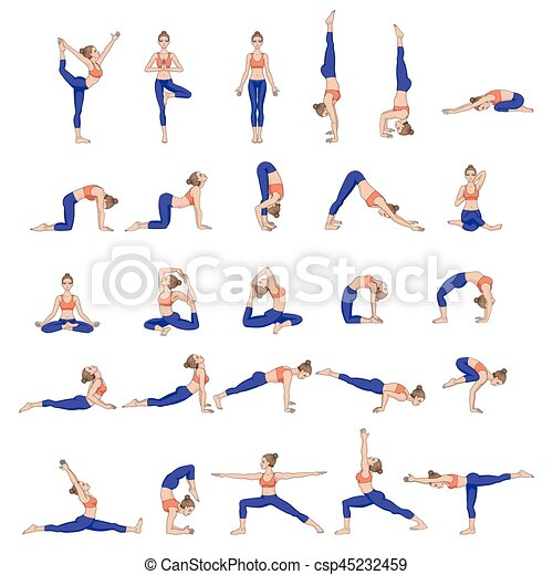 Women silhouettes. collection of yoga poses. asana set.... clipart ...