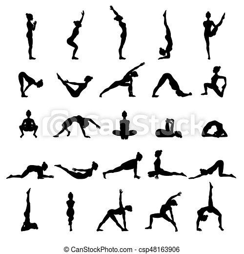 Collection Of Yoga Poses Asana Set