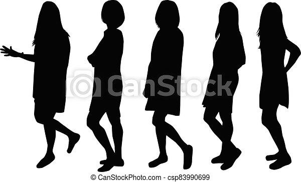 Women silhouettes on a white background. - csp83990699