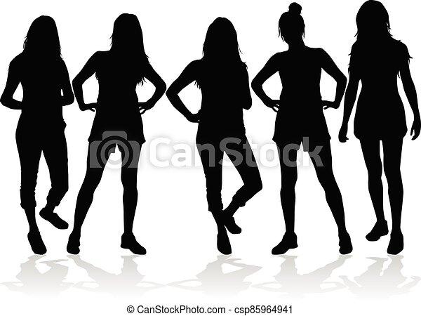 Women silhouettes on a white background. - csp85964941