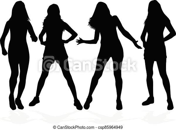 Women silhouettes on a white background. - csp85964949