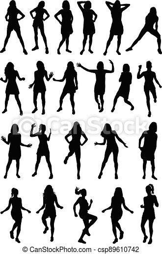Women silhouettes on a white background. - csp89610742