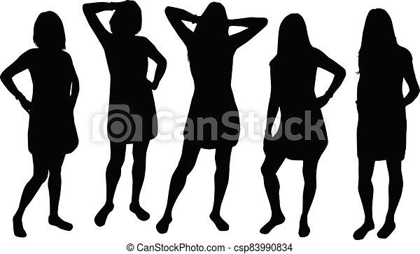 Women silhouettes on a white background. - csp83990834
