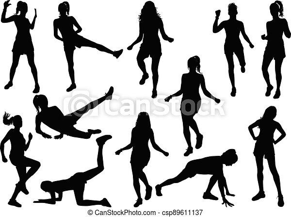 Women silhouettes on a white background. - csp89611137