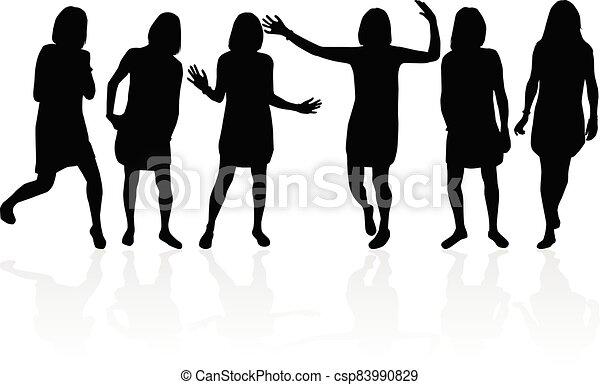 Women silhouettes on a white background. - csp83990829