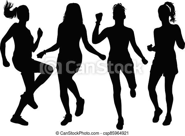 Women silhouettes on a white background. - csp85964921