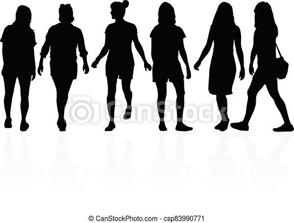Women silhouettes on a white background. - csp83990771