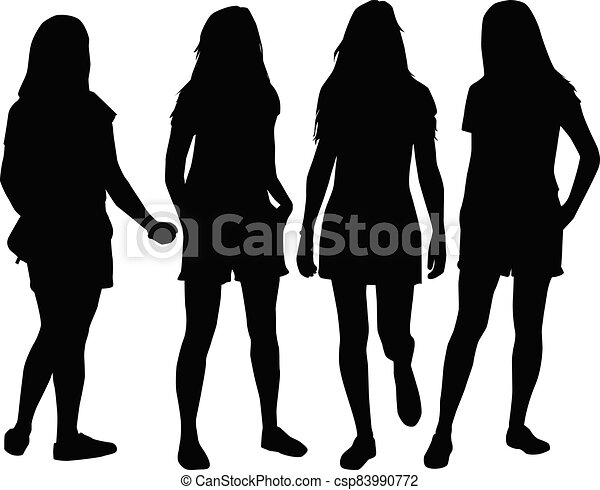 Women silhouettes on a white background. - csp83990772