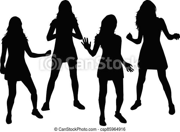 Women silhouettes on a white background. - csp85964916