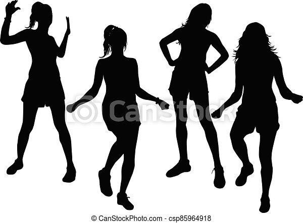 Women silhouettes on a white background. - csp85964918