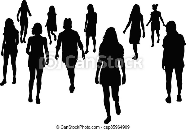 Women silhouettes on a white background. - csp85964909