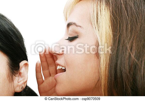 women talking and listening to gossip - csp9070509