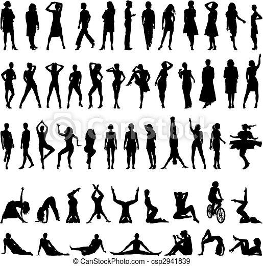 Women-vector silhouettes - csp2941839