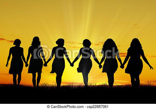 Women walking hand in hand - csp22887061