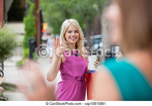 Women Waving Each Other - csp10815861