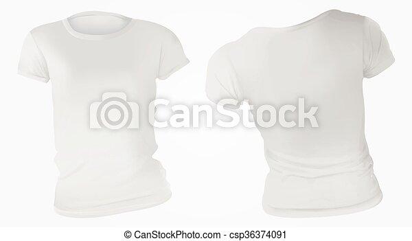 women white t shirt design template vector illustration of blank