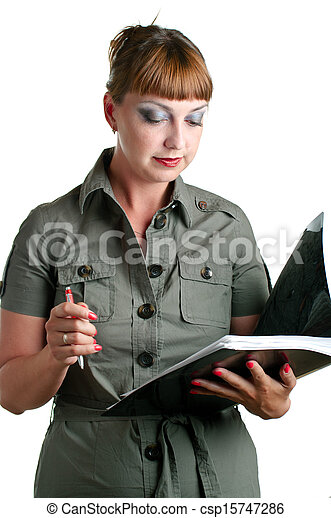 women with a folder in hands - csp15747286