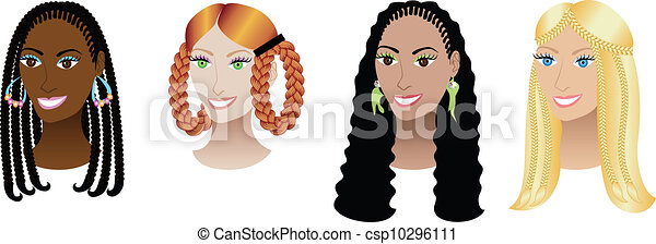 Women with Braids and Plaits - csp10296111