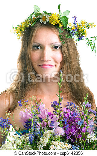women with floral wreath - csp6142356