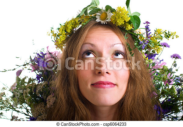 women with floral wreath - csp6064233