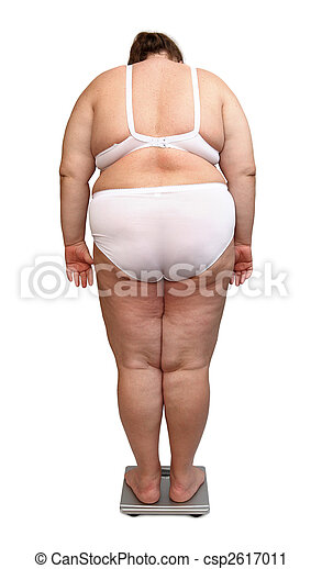 women with overweight from behind on scales - csp2617011
