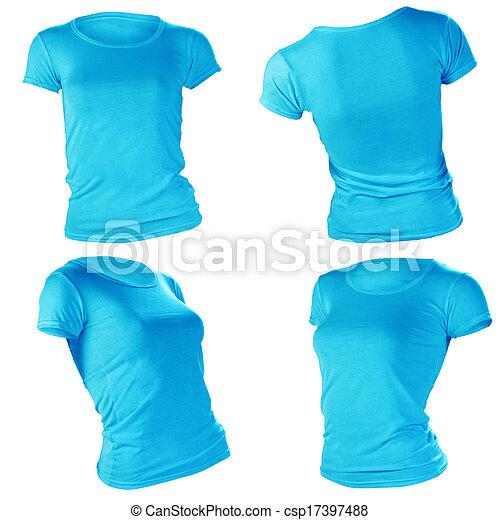 Womens Blank Blue T Shirt Template