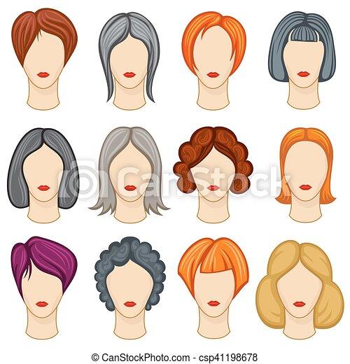 Womens Cartoon Hair Vector Hairstyles Collection Fashion Haircut
