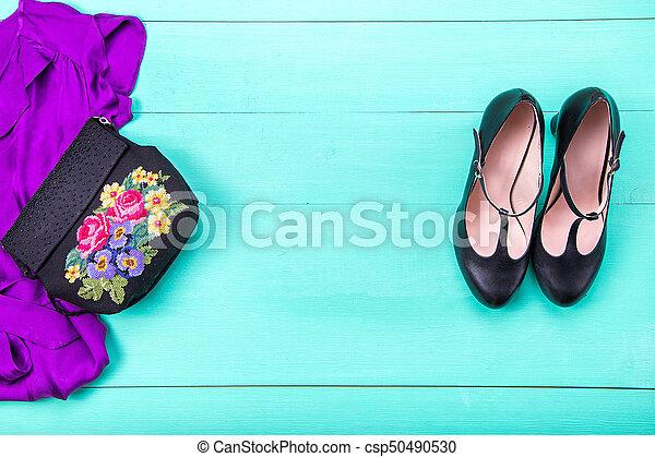 women's clothes top view - csp50490530