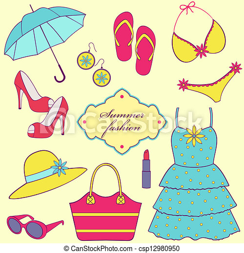 vector illustration of a set of summer women s clothing clipart rh canstockphoto com Fall Clothing Clip Art summer clothing clip art