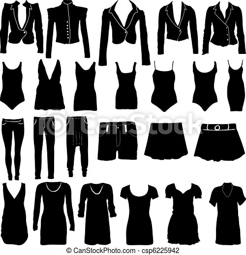 Womens clothing silhouettes - csp6225942