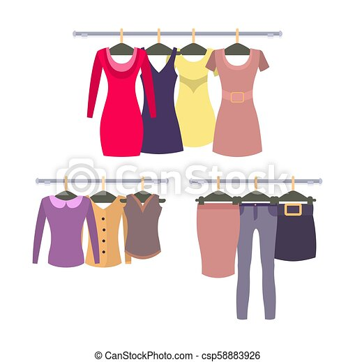 92655e4c62f Womens Clothing Store shop window with clothes hanging - csp58883926