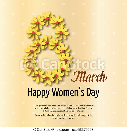 Women's day typogrpahic card with light background - csp58870283