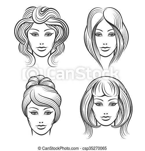 Womens Faces With Different Hairstyles Womens Faces Line Icons