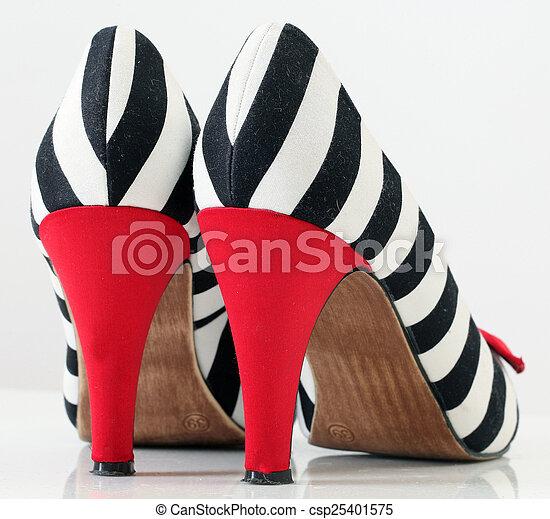women's fashion shoes. zebra pattern. red heel - csp25401575