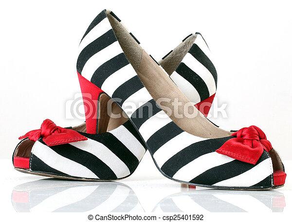 women's fashion shoes. zebra pattern. red heel - csp25401592