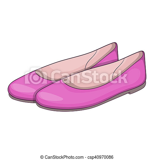 womens flat shoes icon cartoon style womens flat shoes icon in