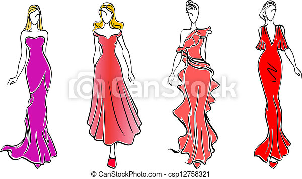 Womens in evening dresses for fashion industry design.