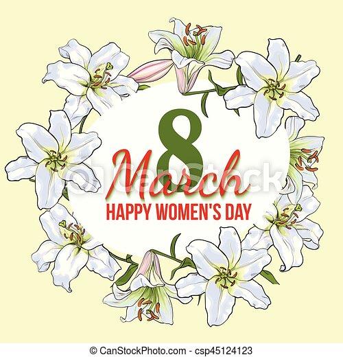 Fiori Bianchi Marzo.Womens Marzo Augurio Giorno Disegno 8 Fiori Bianchi Scheda